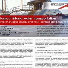 Ecological inland water transportation - Bringing renowable energy and new technologies closer to tourists